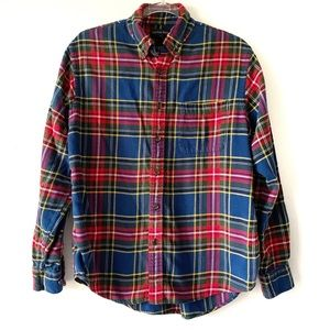Land's End Blue and Red Plaid Flannel Shirt Size M